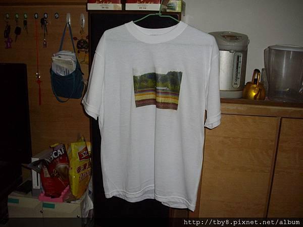 熱轉印後白T恤
