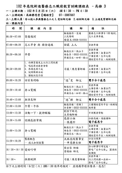 102.05.25高雄區新進醫療志工培訓