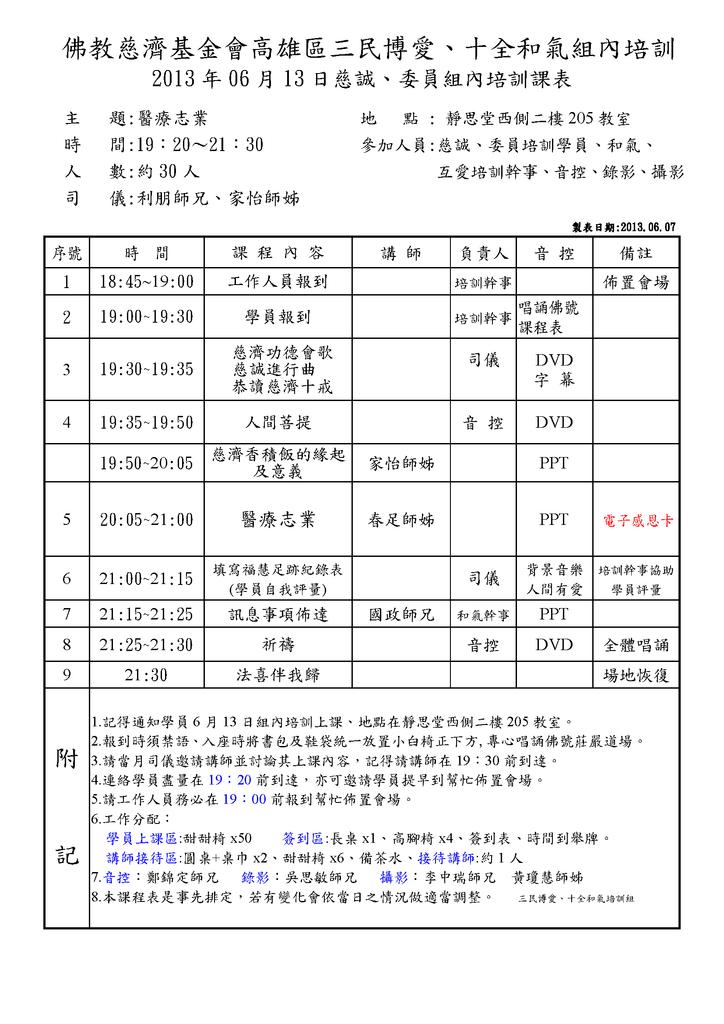 2013.06.13組內培訓課程表