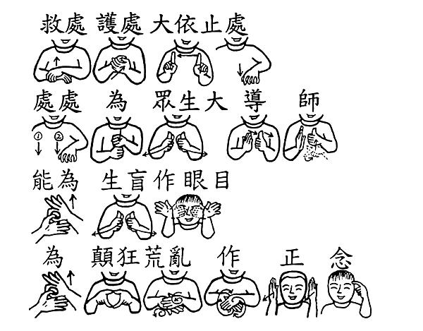 08-2手語印記提示圖-無量義經偈頌-德行品之六