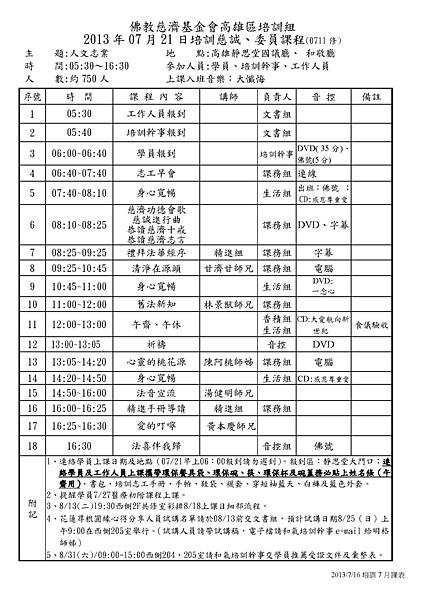 2013.07 高雄區培訓組課程表