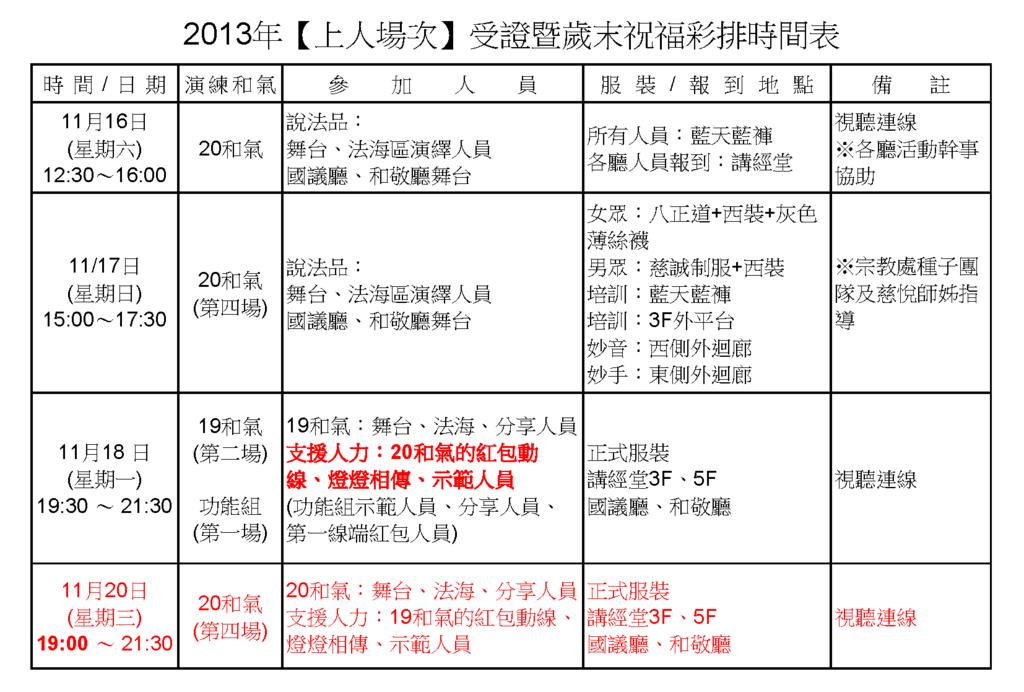 2013年【上人場次】受證暨歲末祝福彩排時間表