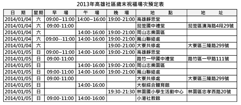 2013年高雄社區歲末祝福場次預定表.png