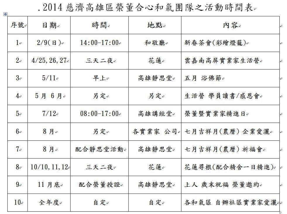 2014慈濟高雄區榮董合心和氣團隊之活動時間表.jpg