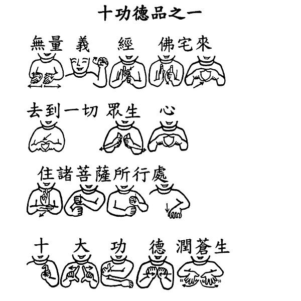 38 手語印記提示圖-無量義經偈頌-十功德品之一(無量義經佛宅來).png