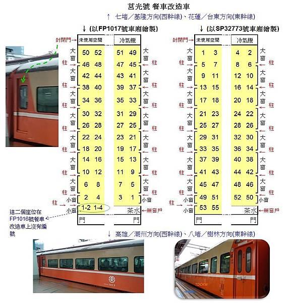 莒光號(餐車改造車)座位配置圖