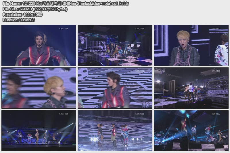 121228 kbs가요대축제 SHINee Sherlock(clue+note) cut_kat