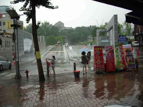 下雨的梨花大門