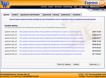 smoothwall express 3.0 SP3 updates