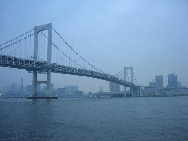 橫跨東京灣的彩虹大橋...晚上燈亮起非常美