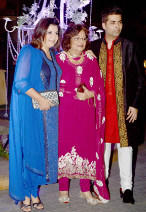 Hiroo Johar flanked by son Karan Johar and Farah Khan.