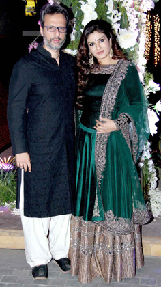 Raveen Tandon with her husband Rishi Thadani.