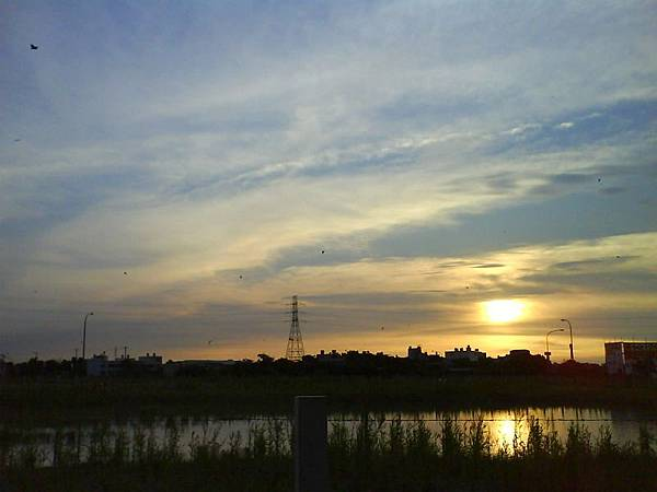 99年7月10日的夕陽,在天空飛的是小蝙蝠喔。