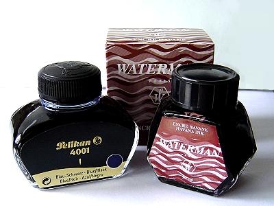 百利金4001藍黑色墨水&船夫哈瓦那棕色墨水