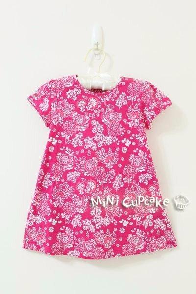 H&M 有機棉印花洋裝 桃紅色 12~18M $350
