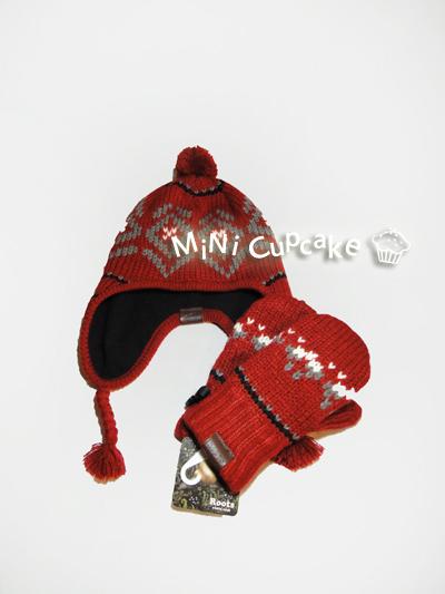 ROOTS 民族風編織毛線帽 L-XL