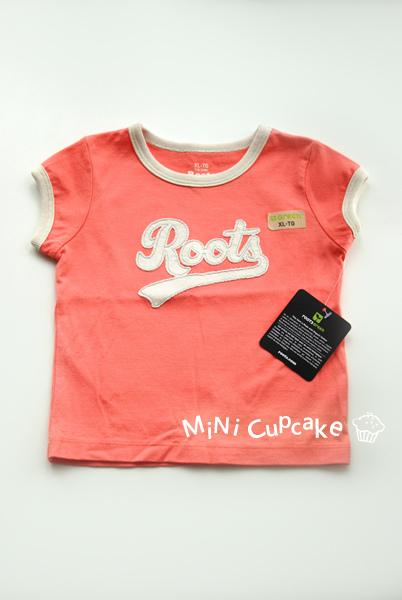 Roots Logo 有機棉短T 橘紅色 (XL) 18~24M $360
