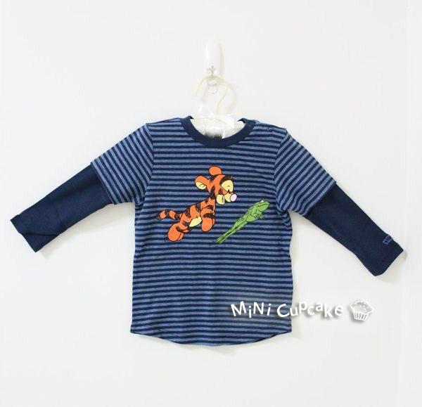 H&M 跳跳虎假兩件長袖上衣 藍色 12~18M $580