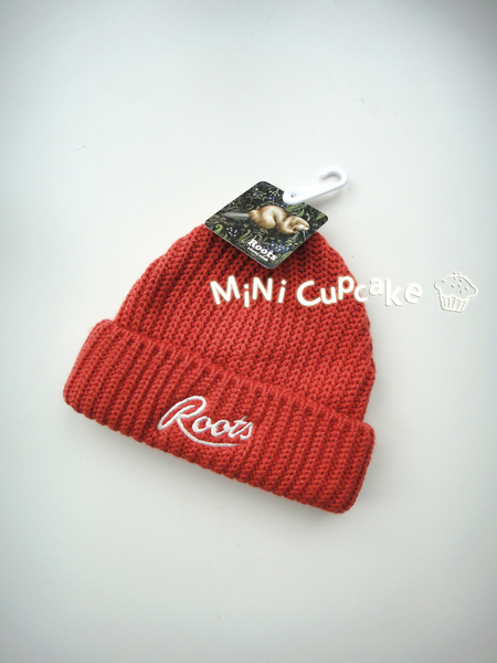 Roots 橘紅色毛線帽 One Size (適合約2-5歲)