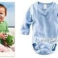H&M 有機棉長袖包屁衣 粉藍色 6~9M $320*已售出*