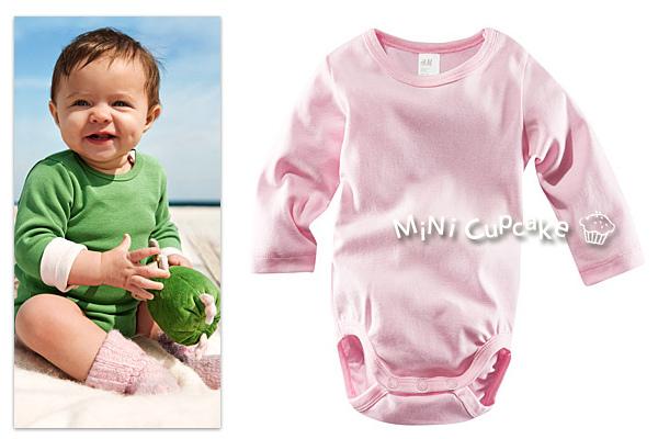 H&M 有機棉長袖包屁衣 粉紅色 6~9M $320