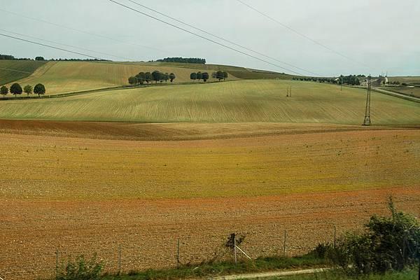 TGV沿途的景色-像彩色拼圖般的田野