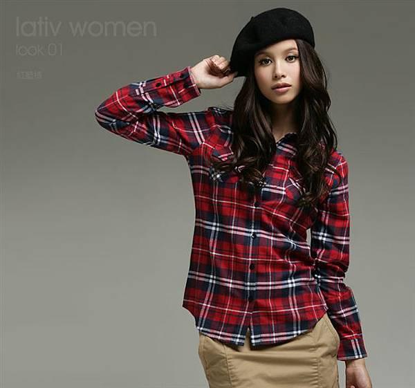 法蘭絨格紋襯衫-女( 紅藍格 ).jpg
