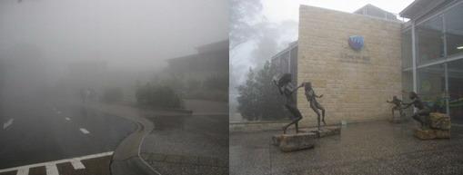 遊覽車開始上山就開始下雨,山上霧氣很重,藍山變白山