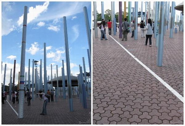 廣場上有隻桿子標註了當年奧運跳高的紀錄,地上也有跳遠的紀錄