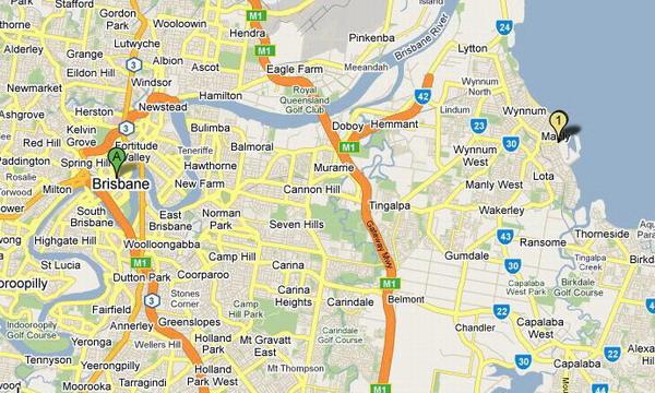 Brisbane與Maly的地理位址