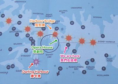 橘色是煙火施放點,藍色編號是看煙火的好景點,達令港也有自己的煙火
