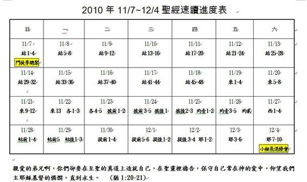 2010.11 讀經進度