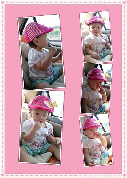 2014.09.27。1歲3個月又5天。坐車車看風景,邊吃米餅加邊挖鼻屎-1