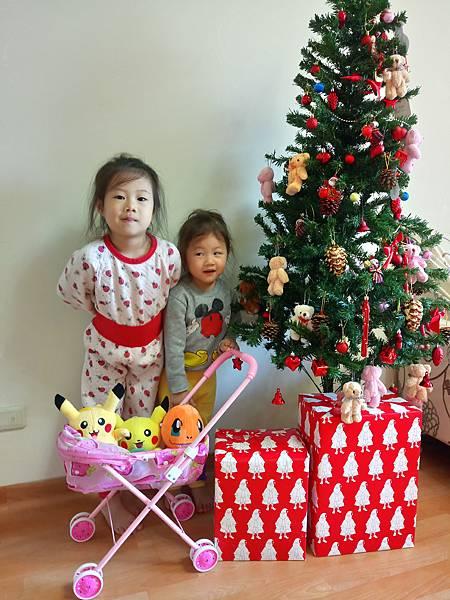 2016.12.19。(5歲3個月又10天)(3歲5個月又25天)。這2個寶貝帶著他們近期喜歡的寶貝說要聖誕樹合照一下~