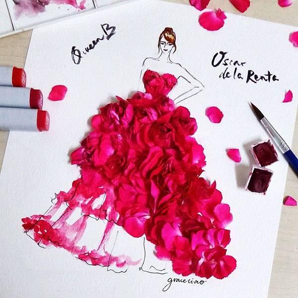 vestito-di-petali-fucsia