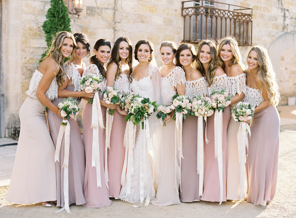 Rustic-Romantic-Lace-Covered-Pink-Tone-Bridesmaid-Dresses