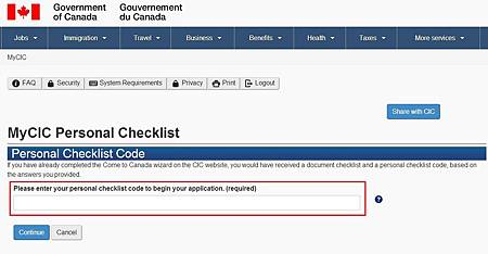 Enter checklist code