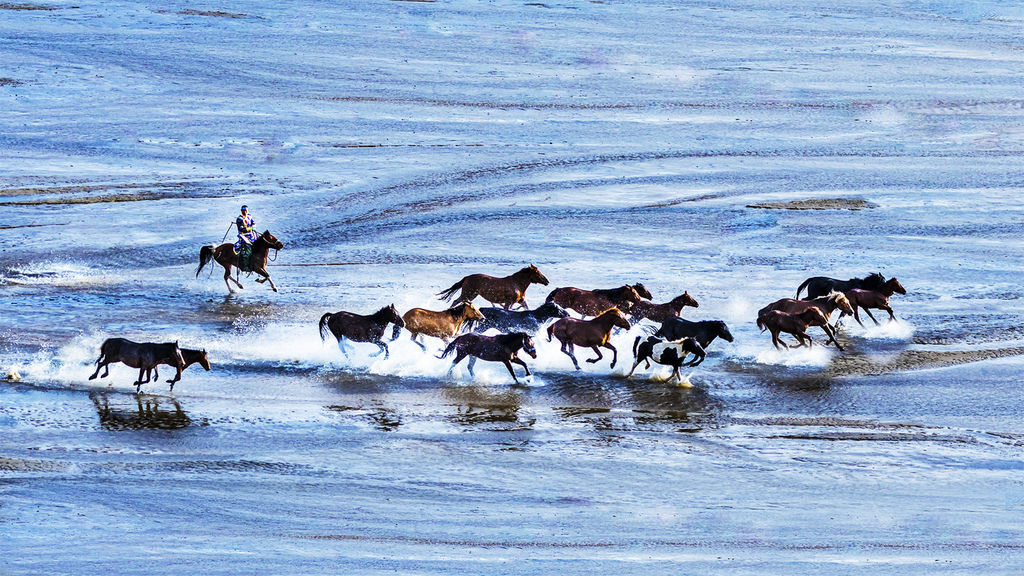Galloping horse on the colorful river