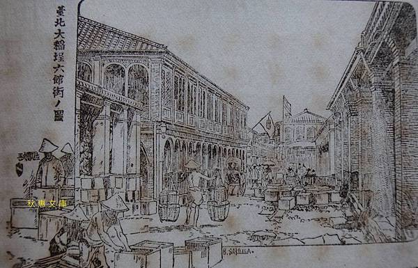 明治33年(1900)大稻埕六館街之圖(現南京西路)