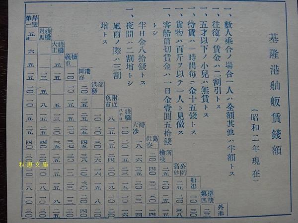 昭和2年(1927)基隆港舢舨價錢表.jpg