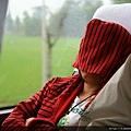 車上、熟睡