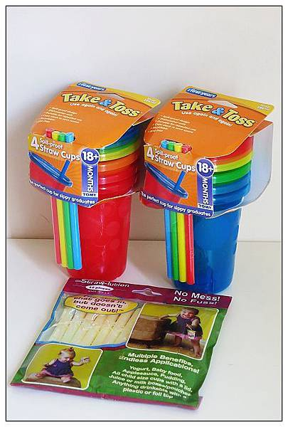Take and Toss彩色學習杯(藍色系)+Strawlution拔不掉吸管(黃色)