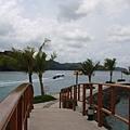 前往海豚灣的船從老爺酒店前的海灣經過