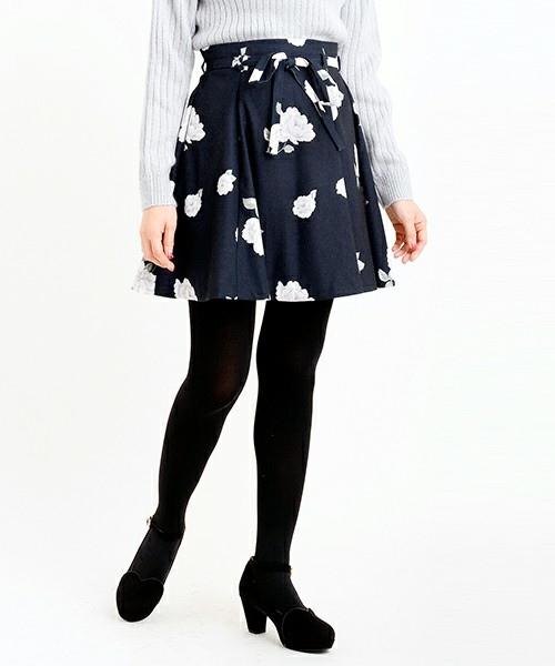 MAJESTIC LEGON 腰間綁帶花朵褲裙.jpg