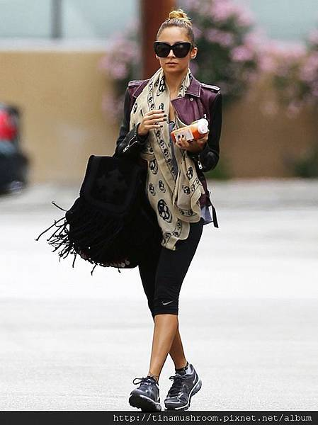 Nicole-Richie-Alexander-McQueen-Scarf-IRO-Jacket-Simone-Camille-Backpack-House-Harlow-Shades-UpscaleHype