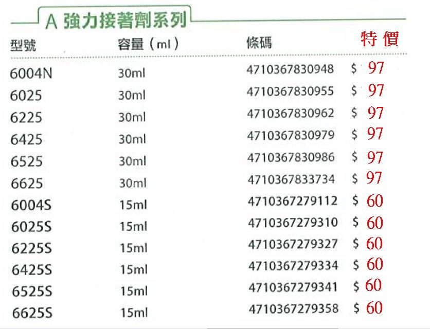 4-20-6004強力膠字