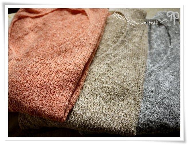 3色大V領粗針織上衣