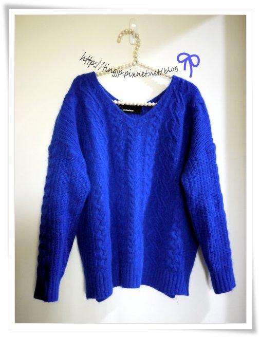 寶石藍麻花毛衣~正面