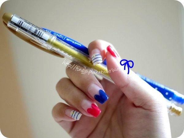 右手+彩繪的中性筆