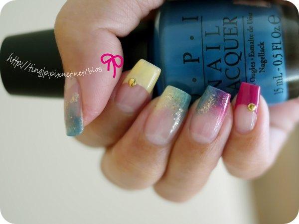 復古藍+粉黃有2指
